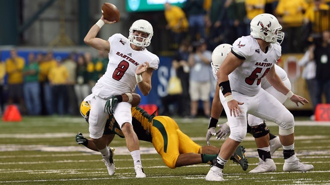 EWU quarterback Gage Gubrud dodges a defender. - EWU ATHLETICS