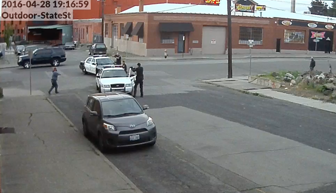 Screen grab of surveillance video seconds before Kurtz was shot.