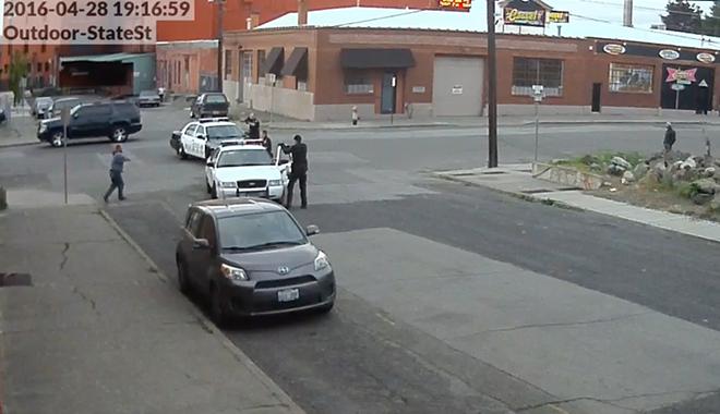 Screen grab of surveillance video seconds before Kurtz was shot.