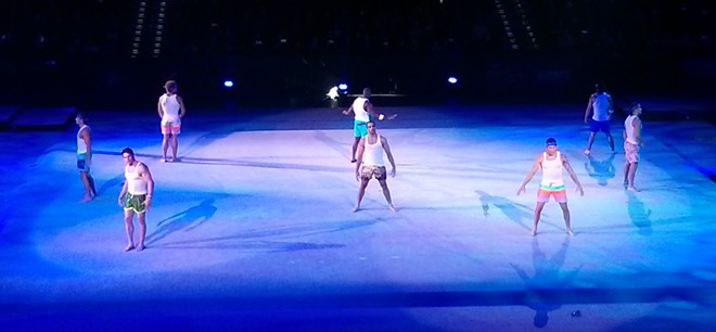 The male gymnasts proved that not only can they defy gravity with their acrobatic skills — they can also dance.