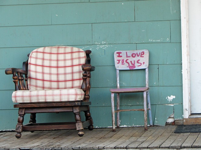 A chair proclaims its love of Jesus. - DANIEL WALTERS PHOTO