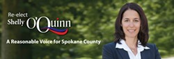 """Shelly O'Quinn's picture on her campaign website says she is a """"reasonable voice for Spokane County"""""""