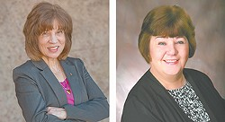 Councilwoman Lori Kinnear (left) worked to deescalate a conflict between the mayor and the council. Councilwoman Karen Stratton (right) has plenty of frustration with Condon, but she's been able to set them aside.