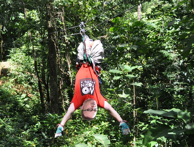 In this incredibly realistic photo illustration, DSP President Mark Richard shows how exhilarating ziplining can be. - DANIEL WALTERS PHOTO ILLUSTRATION