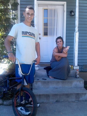 Isaiah and his mom on the porch in Coeur d'Alene - COURTESY OF COURTNEY MCKINNIE