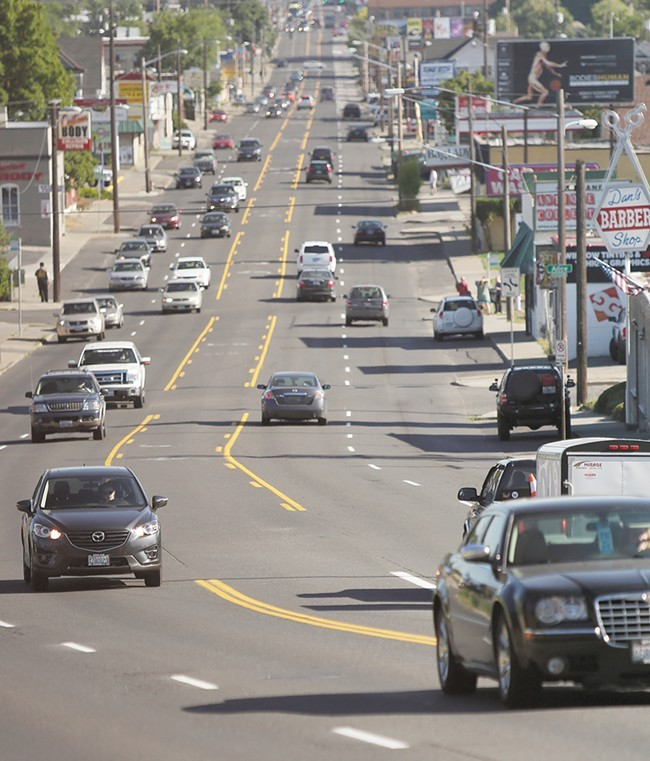 STA is already figuring out ways to modify their bus routes when this section of Monroe goes from five to three lanes. - YOUNG KWAK PHOTO