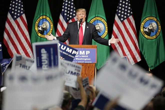 Trump spent plenty of time praising police in his big rallies, but won't pay the Spokane Police Department back what his rally cost the department - YOUNG KWAK PHOTO