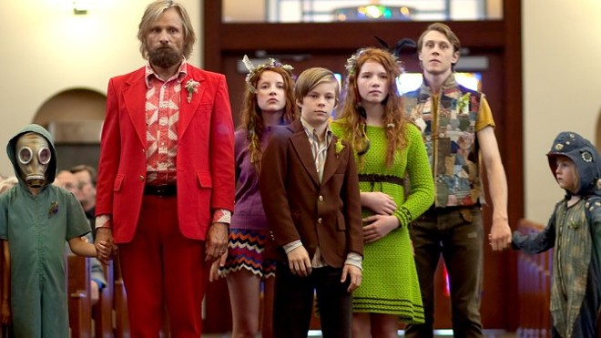 Viggo Mortensen (red suit) is nominated as Best Actor for his role in Washington-shot Captain Fantastic.