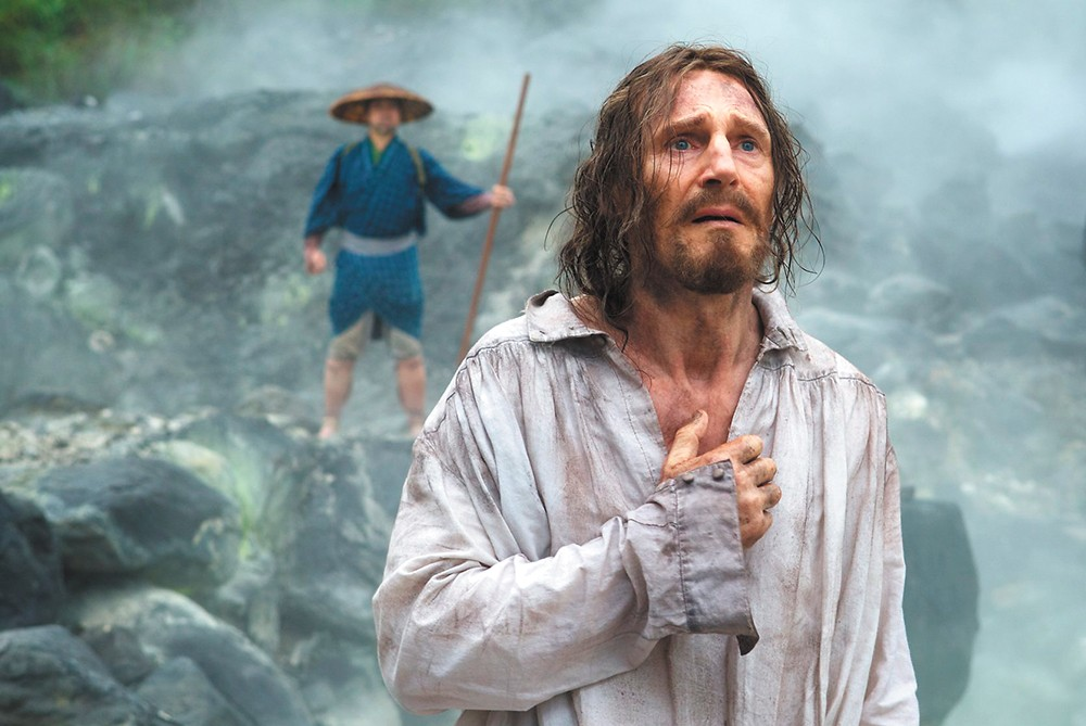 Liam Neeson is priest trying to survive in feudal Japan in Silence.