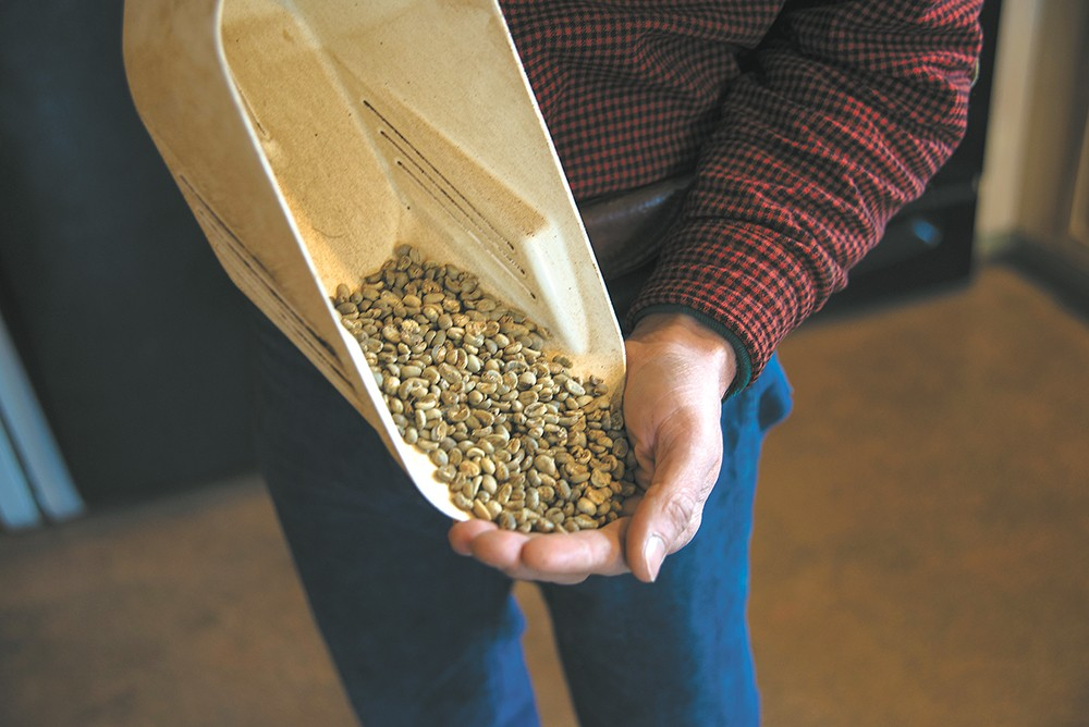 Landgrove Coffee roaster Jon Binninger holds coffee beans that haven't been roasted. - TARYN PHANEUF