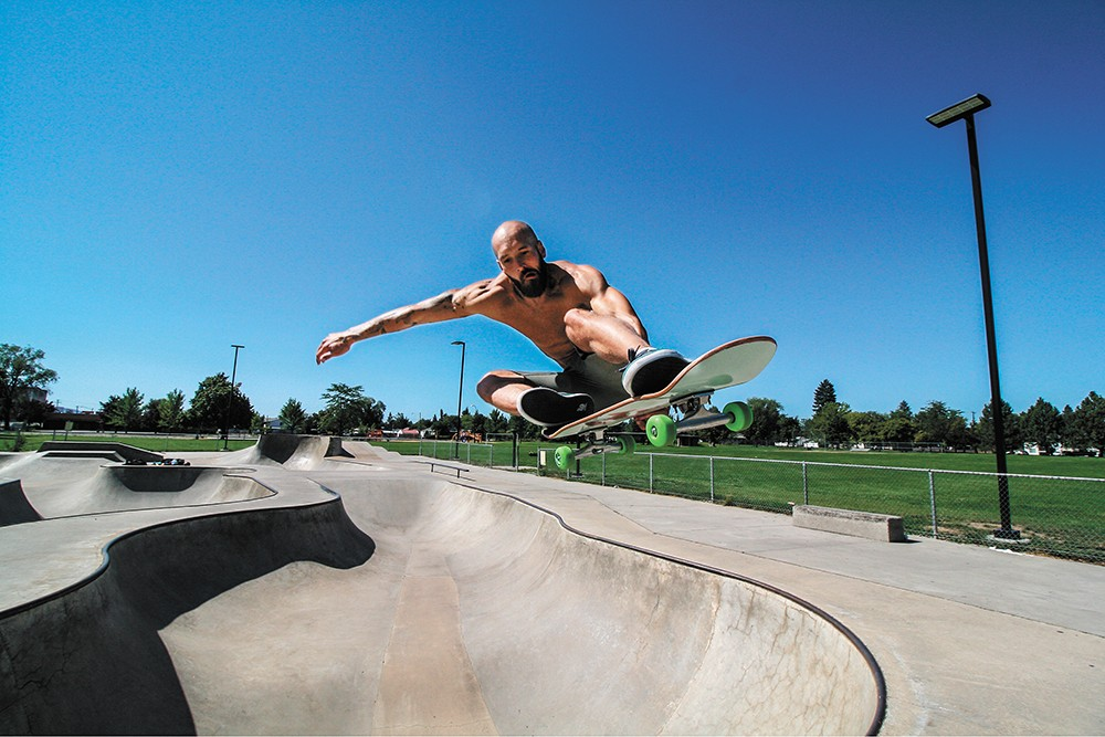 Michael Uhlenkott flies high at Hillyard Skateboard Park. - DAVID UHLENKOTT