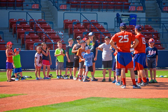 Learn from the pros at the Spokane Indians' baseball clinic.