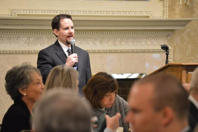 Hazel speaking at a Spokane County Bar Association luncheon during his tenure as president. - COURTESY OF TONY HAZEL