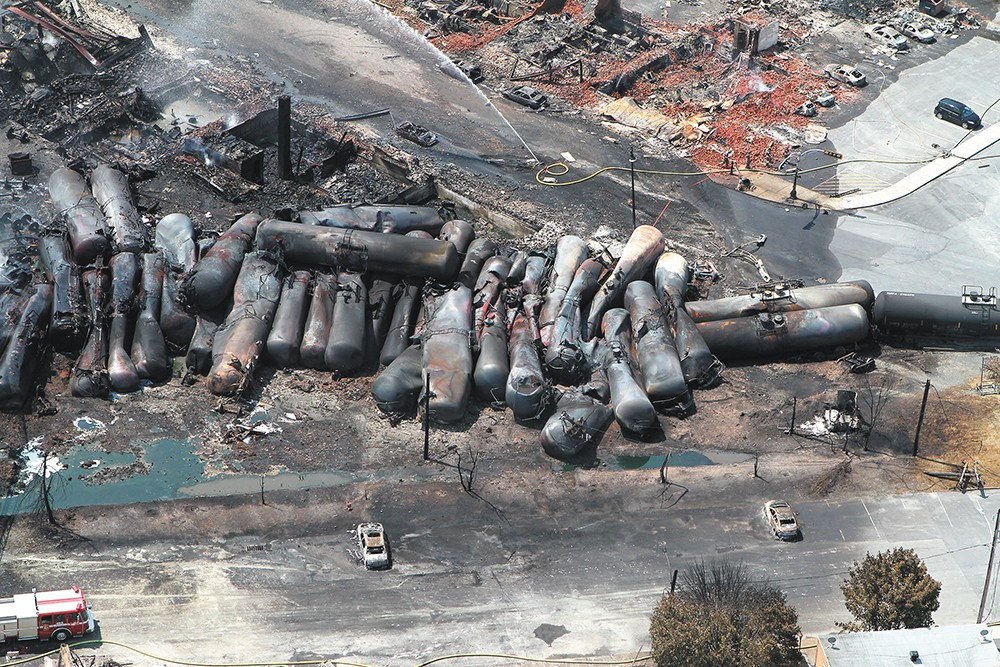 The  Lac-Mégantic derailment in Quebec destroyed more than 30 buildings.