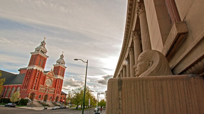The Masonic Temple faces the Cathedral of our Lady of Lourdes on Riverside Avenue on a cloudy Friday morning. - DANIEL WALTERS PHOTO