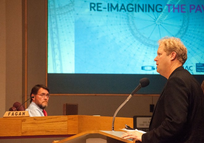 Berger Partnership principal Guy Michaelsen makes his case for leaving the pavilion uncovered. - DANIEL WALTERS PHOTO
