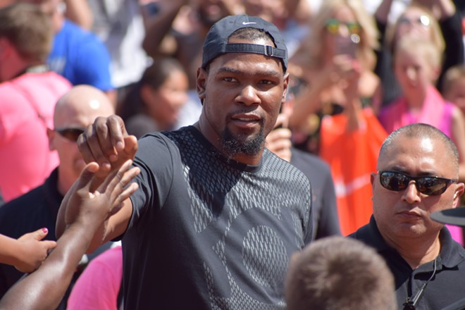 Kevin Durant arriving to Nike Center Court at Hoopfest. - WILSON CRISCIONE