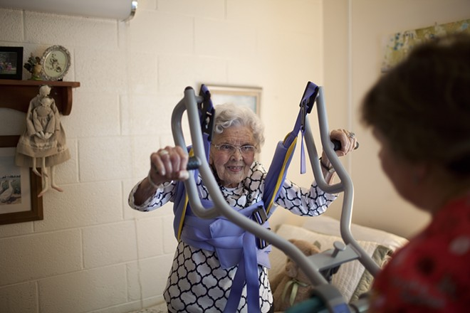 Alice Jacobs, 90, at Dogwood Village, a nonprofit county-owned nursing home in Orange, Va., June 23, 2017. Medicaid, targeted by Republicans' health care bill, pays for most of the 1.4 million elderly people in nursing homes, some of whom do not know they are on it. - KHUE BUI/THE NEW YORK TIMES