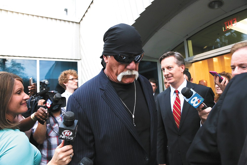 Wrestler Hulk Hogan leaves a Florida courtroom in early 2016 after winning a defamation case that bankrupted the media company Gawker. - EVE EDELHEIT/ZUMA WIRE