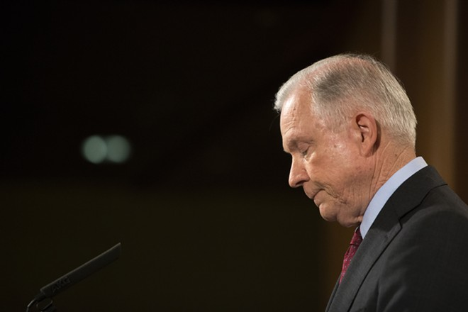 "Attorney General Jeff Sessions is ""beleaguered"" and is in a ""VERY weak position"" on an investigation into Clinton's use of a private computer server, according to Trump. - TOM BRENNER/THE NEW YORK TIMES"