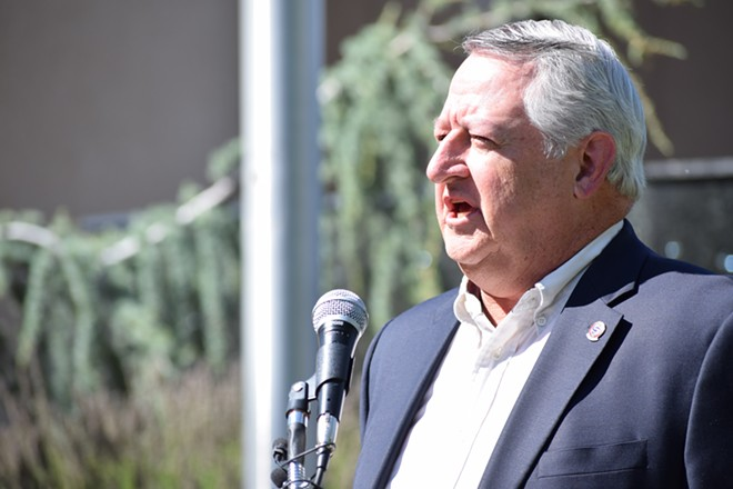Al French speaking during a press conference yesterday outside the Spokane County Courthouse. - WILSON CRISCIONE PHOTO