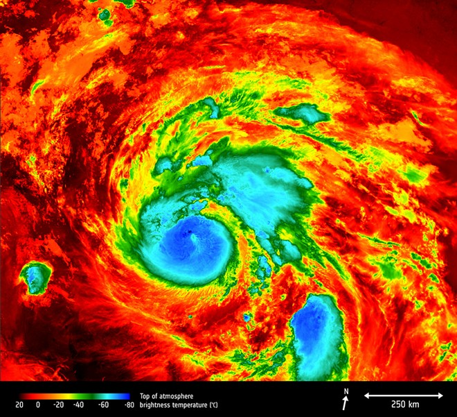 Hurricane Harvey, as captured Friday by the Copernicus Sentinel-3A satellite. - EUROPEAN SPACE AGENCY