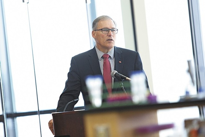 "In his 2013 inaugural address, Gov. Jay Inslee referenced the December 2012 Sandy Hook massacre, calling for a solution to gun violence that would likely ""involve mental health and keeping guns out of the wrong hands, while respecting the right of my son to hunt and my uncle to defend his home."" - YOUNG KWAK PHOTO"