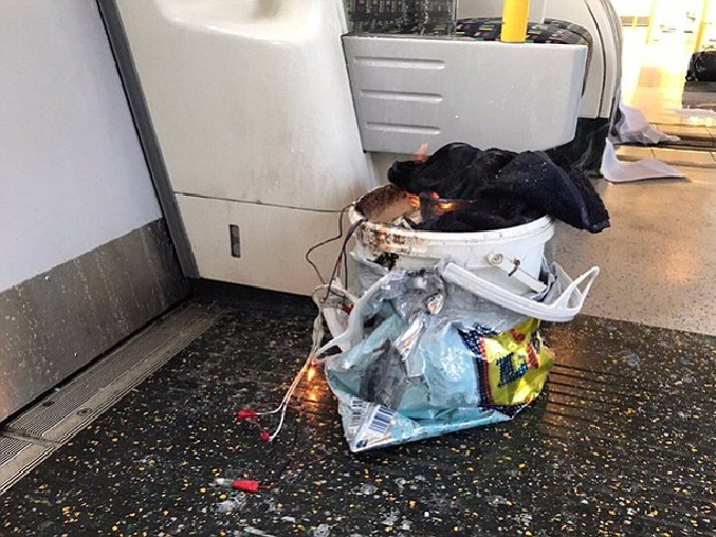 A bucket on fire on the train in London.