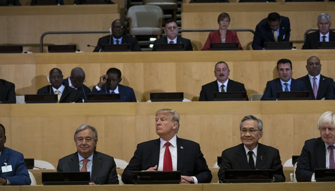 President Donald Trump, center, during a meeting on United Nations reform at the United Nations headquarters in New York, Sept. 18, 2017. U.N. Secretary-General António Guterres is at left. - DOUG MILLS/THE NEW YORK TIMES