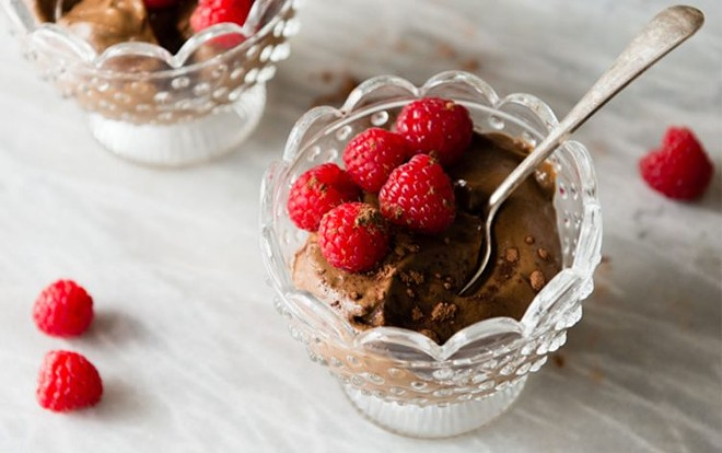 You'd never guess by looking at this bowl of deliciousness, but this no-bake dessert comes in at less than 300 calories.
