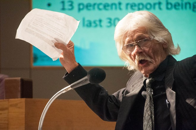 Henry Valder was among dozens of citizens who gave suggestions to Spokane City Council on Monday night, Sapt. 25, regarding how they could better tackle homelessness. - DANIEL WALTERS PHOTO