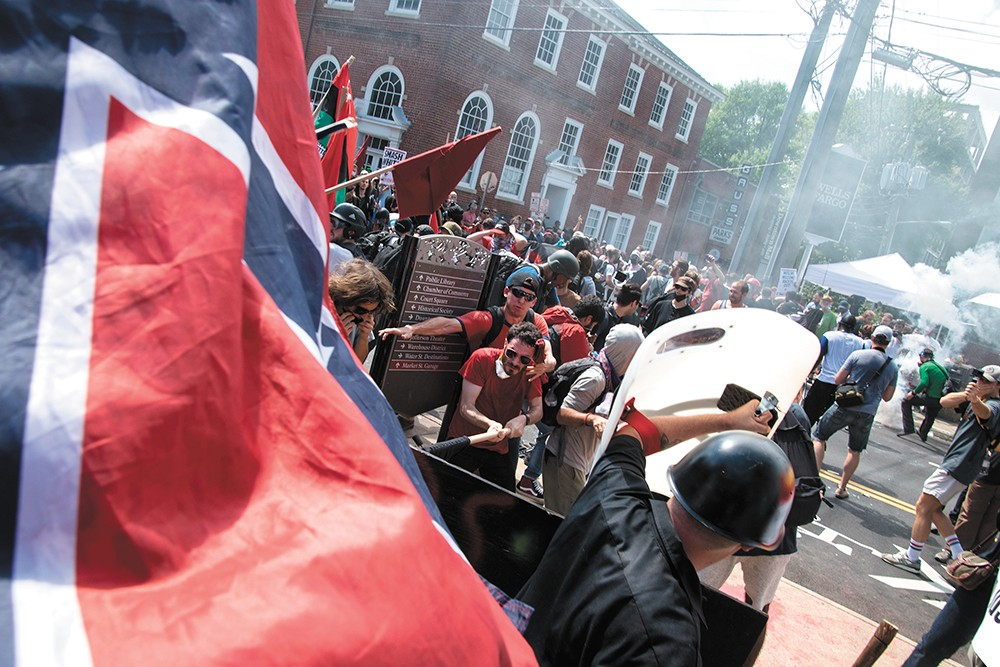 "The ""Unite the Right"" rally in Charlottesville, Virginia — which left a counter-protester dead — inflamed already simmering tensions at Washington State University. - RODNEY DUNNING"