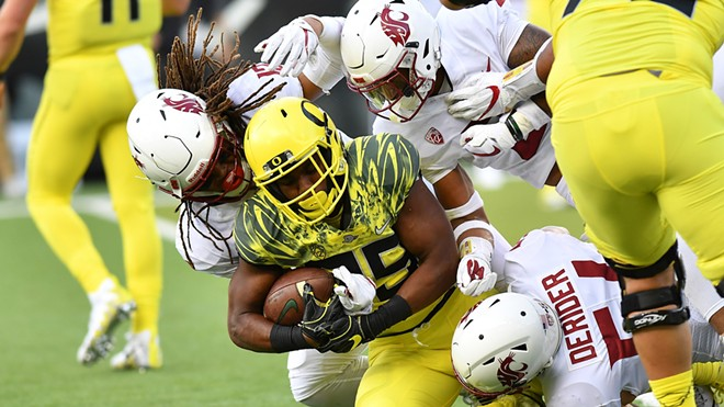 A swarming, relentless Cougars defense held Oregon's high-powered attack to just 10 points at Autzen Stadium. - WSU ATHLETICS