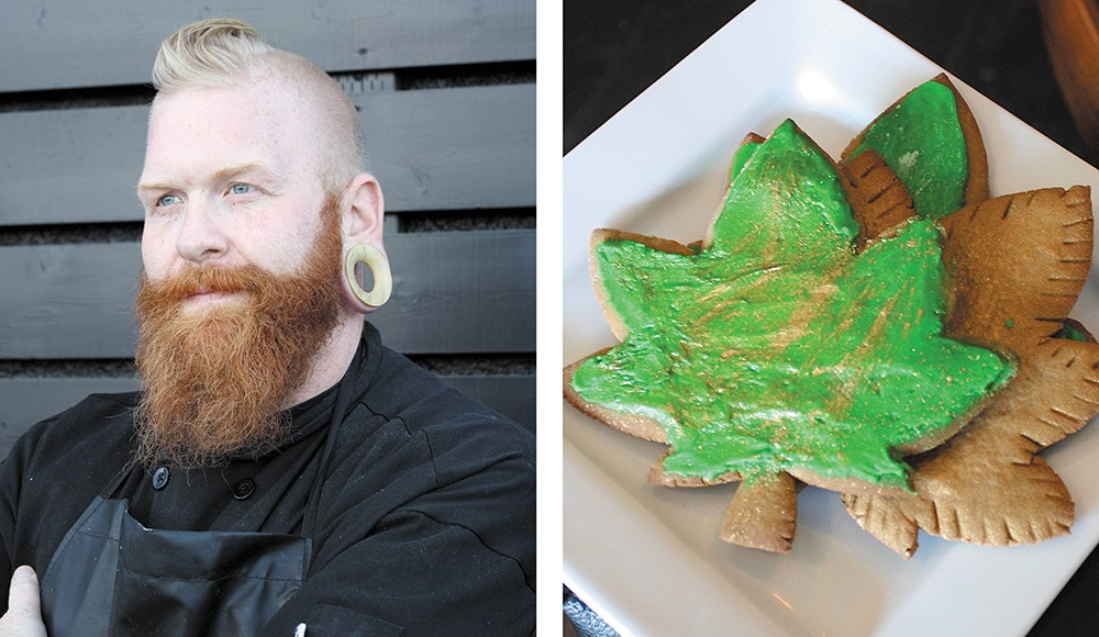 Chef Freak (left, aka Kyle Bowlby) and one of his treats.