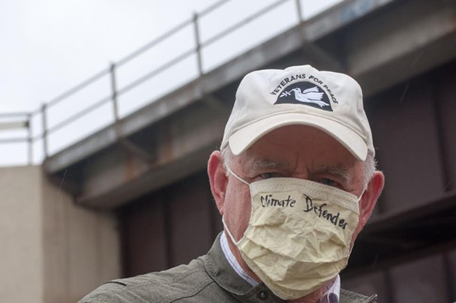 """George Taylor is one of several oil train protestors who refer to themselves as the """"Climate Defenders."""" - DANIEL WALTERS PHOTO"""
