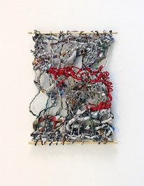 """""""When Things Fall Apart;"""" newspaper, crepe paper, gold thread, 10' x 13'. 2017. - MAY KYTONEN"""