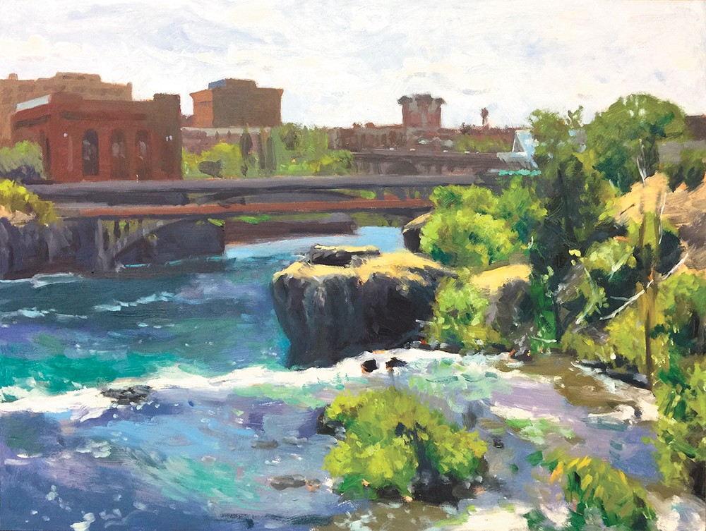 Above the Falls by William Elston can be seen at Dodson's Jewelers.