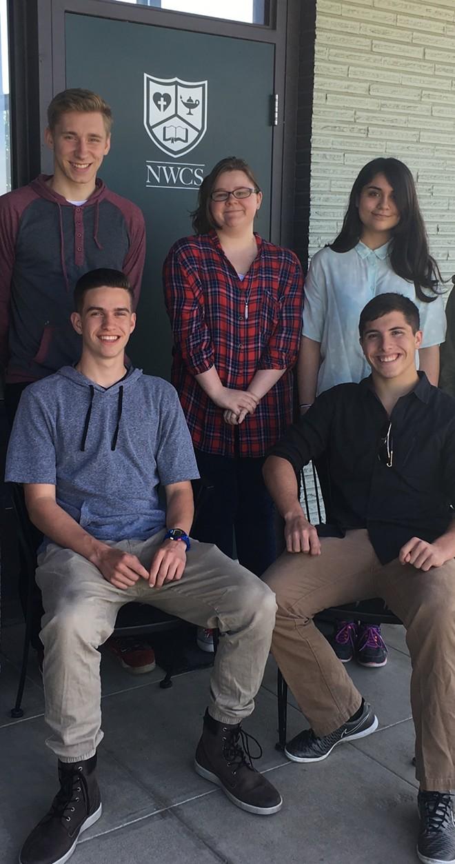 The That Dragon Card Game team in May 2017. Back row: Josh Maynard, Madison Van Houdt, Sarah O'Brien. Front row: Micah Erdman, Ethan Kopplin - PHOTO COURTESY OF JEFF DREW