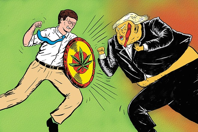 Attorney General Bob Ferguson hasn't sued Donald Trump over weed... yet. - CALEB WALSH ILLUSTRATION
