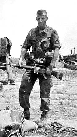 2nd Lieutenant Robert S. Mueller III of the 3rd Marine Division in Vietnam, 1969; he won a Purple Heart and a Bronze Star, among other military honors.