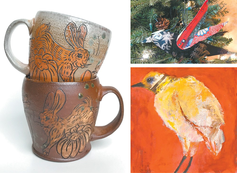 """CLOCKWISE: Jordan Jones' rabbit mugs in Cup of Joy at Trackside, Karen Ciaffa in the Ornament and Small Works Show at Spokane Art School, and """"A Change in Temperature"""" by Mel McCuddin in the Small Artworks Invitational at the Art Spirit Gallery."""
