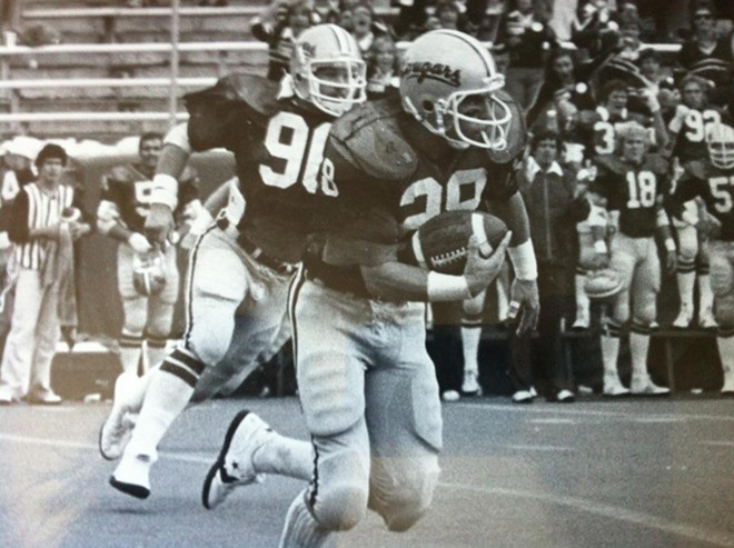 Paul Sorensen returns an interception vs. San Jose State in his first WSU game at Spokane's Joe Albi Stadium in 1980.