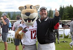 Does it get any more Wazzu (in a good way) than Butch the Cougar and Paul Sorensen? - GREG DAVIS SPORTS PHOTOGRAPHY