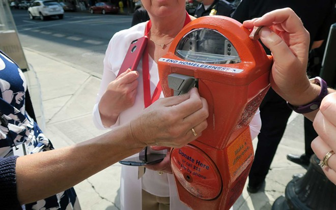 """""""Give Real Change"""" meters are located throughout downtown and now at the Spokane International Airport as well. - CITY OF SPOKANE"""