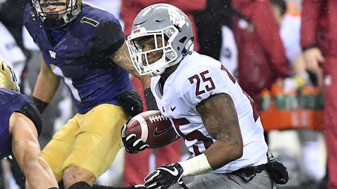 One of the few times WSU running back Jamal Morrow was seen vertically in Saturday's Apple Cup. - WSU ATHLETICS