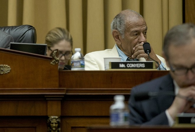 Rep. John Conyers (D-Mich.) during a House Judiciary Committee hearing on Capitol Hill in Washington, July 26, 2017. - GABRIELLA DEMCZUK/THE NEW YORK TIMES