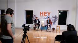 Jared Munson (left) and sidekick Jason Komm film the first episode of their new talk show. - DAN NAILEN
