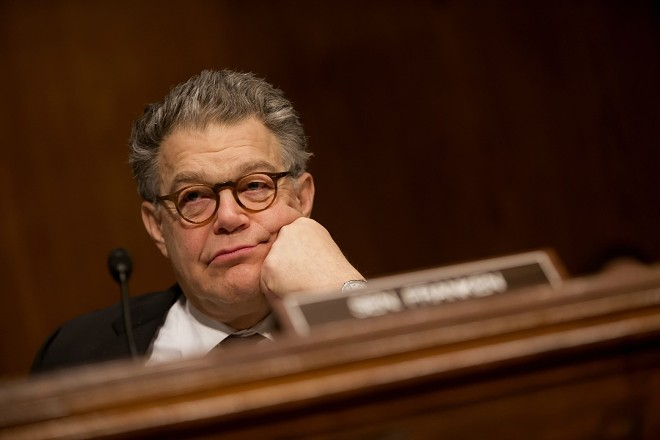 Sen. Al Franken (D-Minn.) during a hearing on Capitol Hill in Washington, April 5, 2017. - ERIC THAYER/THE NEW YORK TIMES