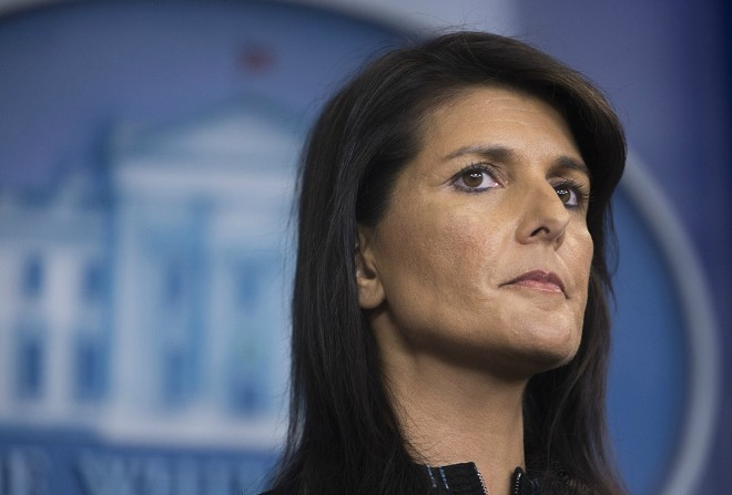 "Nikki Haley, the U.S. ambassador to the United Nations, during a news briefing at the White House in Washington, Sept. 15, 2017. Haley said on Dec. 10, 2017, that the women who have accused President Trump of sexual misconduct ""should be heard,"" a break from the administration's assertions that the allegations have no merit and should be dismissed. - TOM BRENNER/THE NEW YORK TIMES"