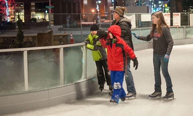 Family Skate Night Monday means free skating on the new Ice Ribbon for the first 500 people to show up. - DANIEL WALTERS